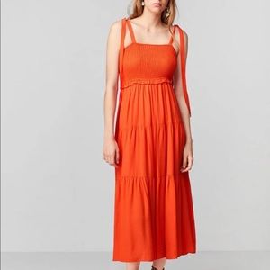 Zara Strappy Orange midi dress ruched front NWT